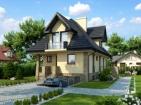 Стильный жилой дом с цоколем, гаражом и мансардой